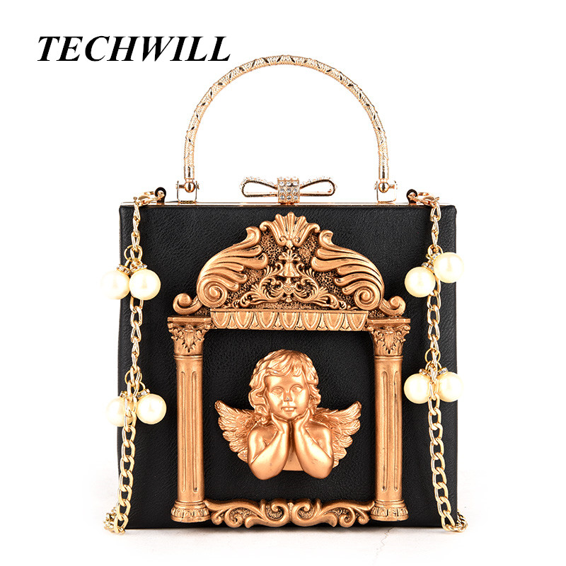 3D Relief Angel Luxury Crossbody Bag Popular Women Diamonds Evening Bags Baroque Style Day Clutches Purse Bags Pearl Chain
