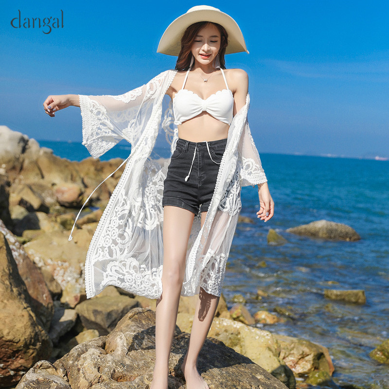 Dangal Fashion Women Lace Sun-protective Blouses Flare Sleeve Long Thin Beach Cardigan Shawls Half Sleeve Shirts Boho Tulle Tops