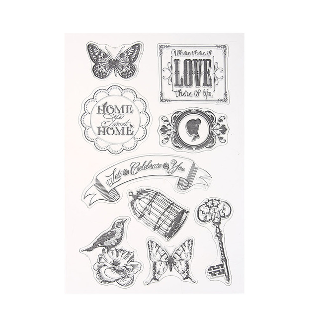 Home Sweet Butterfly Banner Design Silicone Transparent Clear Stamp DIY Scrapbooking Christmas Decoration Supplies