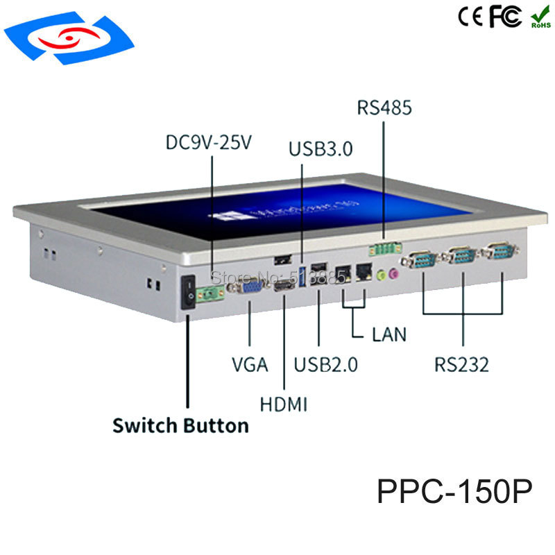"""Image 2 - Low Cost All In One Fanless 15"""" Touch Screen Embedded Industrial Panel PC With Resolution 1024x768 For Factory Automation Tablet-in Industrial Computer & Accessories from Computer & Office"""