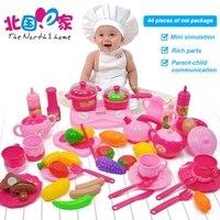 Mini Children Kitchen Food Set Pretend Play Toy Utensils 44PCS Fruit Vegetables Plastic Kids Cook Food