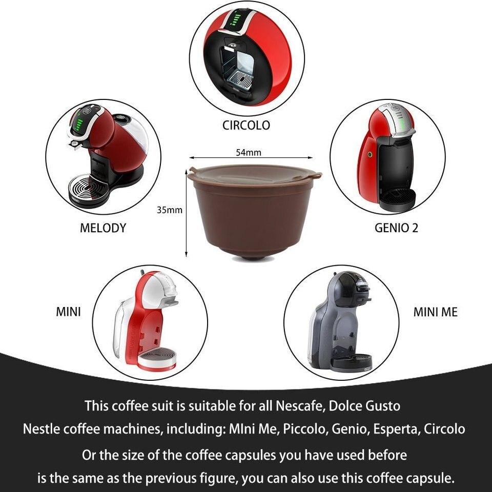 Nullnet Filtros C/ápsulas de Caf/é 4PCS C/ápsula de Caf/é Recargable de Colores Vasos de Fits for Dolce Gusto Coffee Machines con Cuchara Capsulas Dolce Gusto Recargables