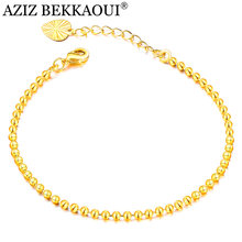 AZIZ BEKKAOUI Simple Style Beaded Bracelet Women Gold Color Heart Charm Chain Bracelet Wedding Engagement Jewelry Gift(China)
