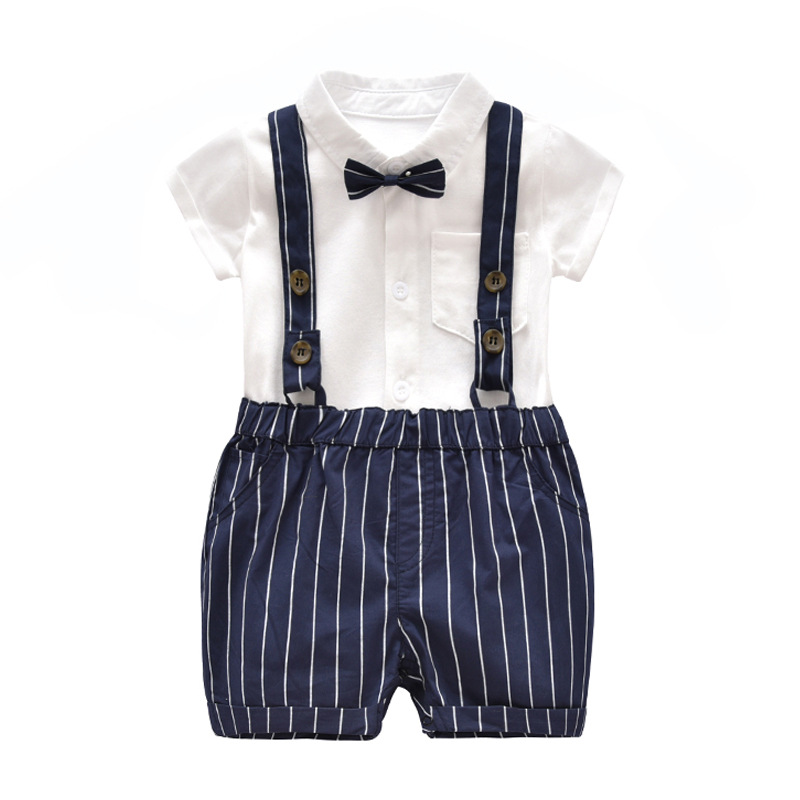Summer style baby boy clothing set newborn infant clothing 2pcs short sleeve t-shirt + suspenders gentleman suit Party Costume 2017 top summer gentleman short baby set boys clothing set baby rompers sleeve t shirt overalls 2pcs suit newborn clothes hot