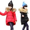 Девушки зимнее пальто 2017 новый куртка большой меховой воротник длинный толстый зимняя куртка девушки ребенок пальто outwears теплая для холодной зимы 4-11 Т