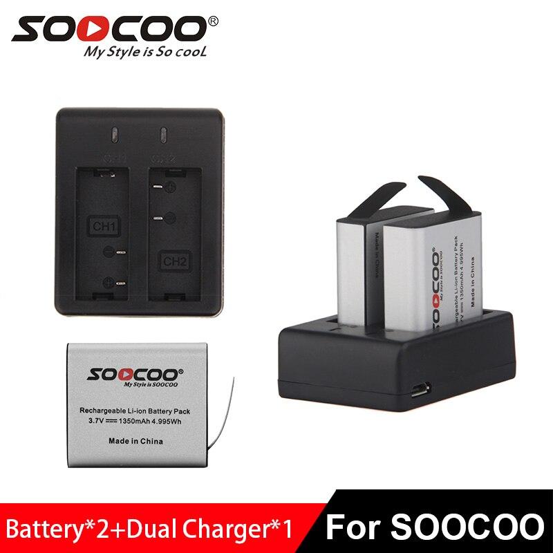 SOOCOO D'action Caméra Batteries 2 pcs avec double chargeur 1350 mAh pour C30/C30R/C50/C10S/C20/C10/SJCAM SJ4000/SJ5000/SJ7000/SJ8000