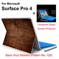 2017 New Design For Surface Pro 4 Tablet Vinyl Decal Netbook Wood Skin Sticker+Explosion-proof Tempered Glass Screen Protector