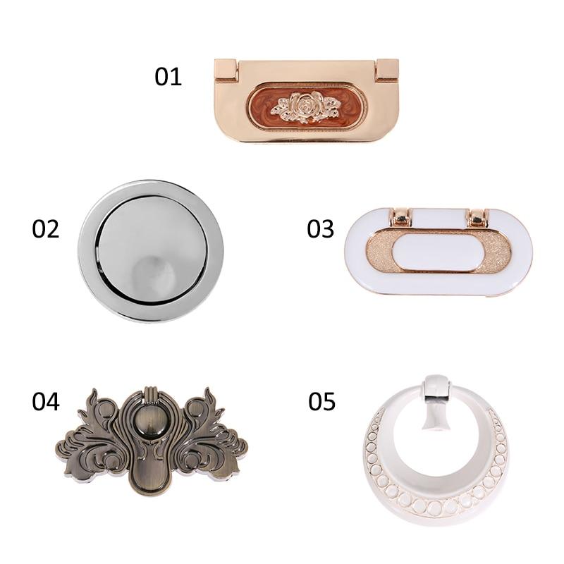 Drawer Handle Zinc Alloy Door Shoes Cabinet Hidden Furniture Handle Knobs Wardrobe Cupboard Ring Pull Knob Furniture Hardware