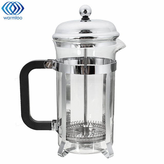 1pc French Press Coffee Plunger Maker 600ml Leaf Carafe Stainless Steel Filter Pot