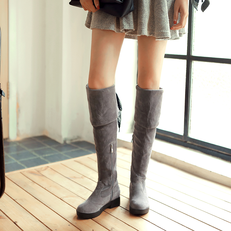 ФОТО Dower Me 2017 New european and american style suede riding round toe women boots knee high boots black color size:34-43-C8-2