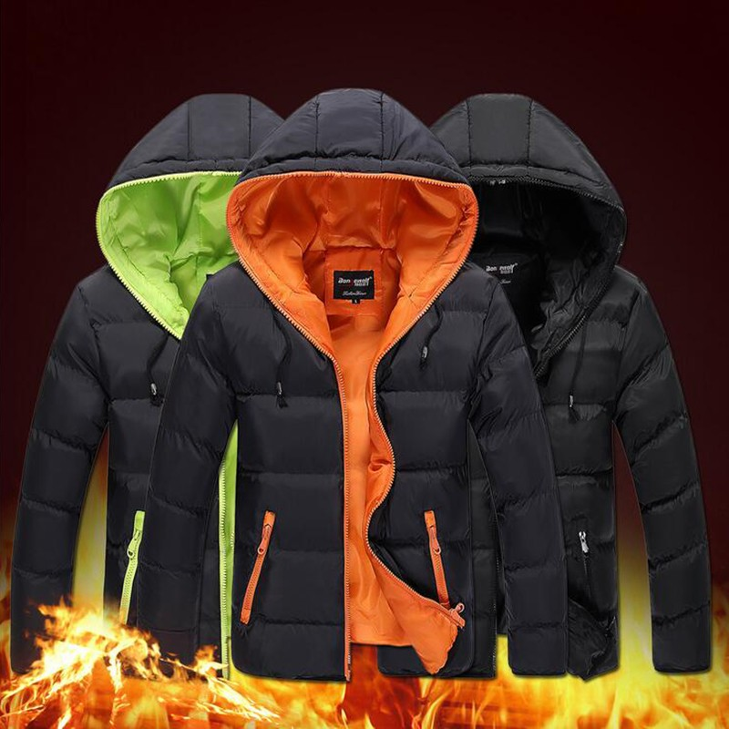 New Brand Mens Winter Coat Slim Casual Solid Cotton Down Men's Thick Padded Hooded Cotton Down Jacket Bape For Men