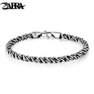 Image 1 - ZABRA אמיתי 925 כסף סטרלינג צמיד איש 5mm עובי 18 אורך פאנק רוק בציר Weave צמיד מאן תכשיטים
