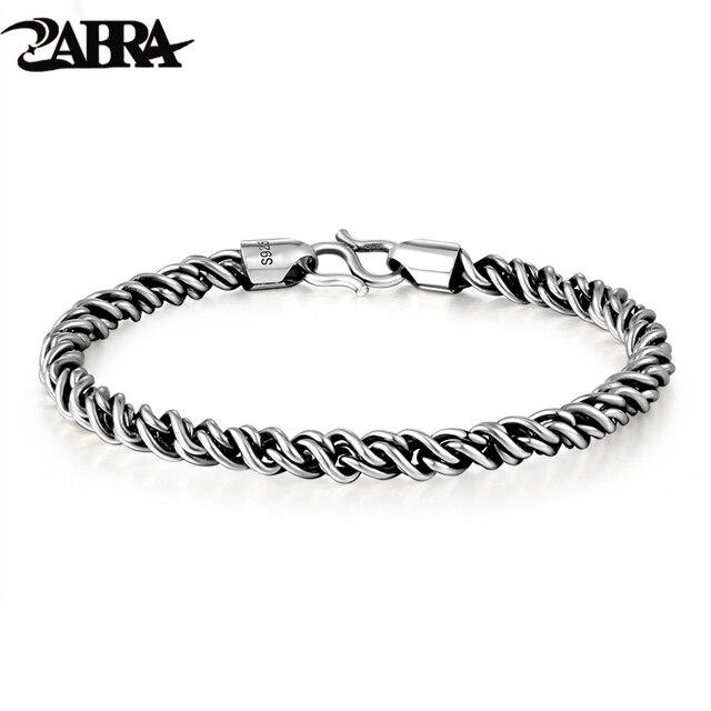 ZABRA אמיתי 925 כסף סטרלינג צמיד איש 5mm עובי 18 אורך פאנק רוק בציר Weave צמיד מאן תכשיטים