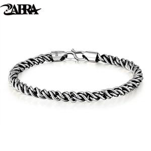 Image 1 - ZABRA Bất Động 925 Sterling Silver Bạc Vòng Đeo Tay Man 5 mét Độ Dày 18 Chiều Dài Punk Rock Vintage Weave Bracelet Mans Đồ Trang Sức