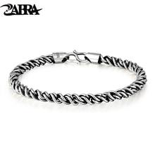 ZABRA Réel 925 Sterling Argent Bracelet Homme 5mm Épaisseur 18 Longueur Punk Rock Vintage Armure Bracelet Mans Bijoux