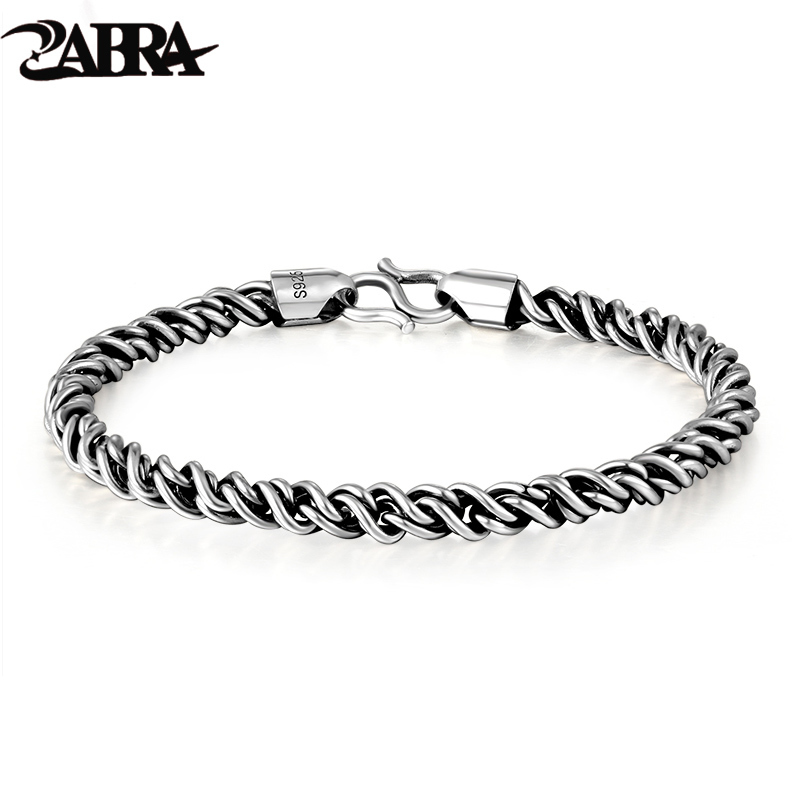 где купить ZABRA Real 925 Sterling Silver Bracelet Man 5mm Thickness 18 Length Punk Rock Vintage Weave Bracelet Mans Jewelry дешево