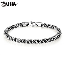 ZABRA Real 925 Sterling Silver Bracelet Man 5mm Thickness 18 Length Punk Rock Vintage Weave Bracelet Mans Jewelry