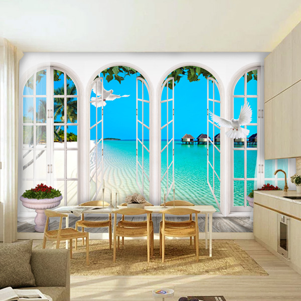 5d papel Murals window Frame Nature Pigeon 3d wall mural wallpaper for living room 3d wall photo mural wall paper home decor custom photo wallpaper 3d wall murals balloon shell seagull wallpapers landscape murals wall paper for living room 3d wall mural