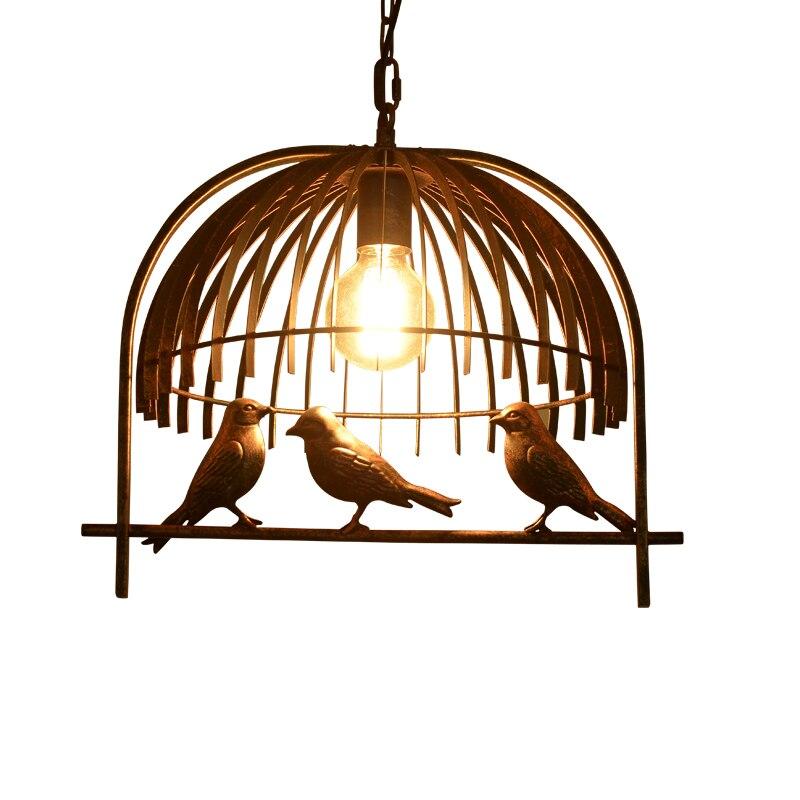 Vintage Iron Pendant Light American Industrial LOFT Bar Cafe bird Decor Hanging Lamp Lamparas Lustre birdcage Pendant lamp