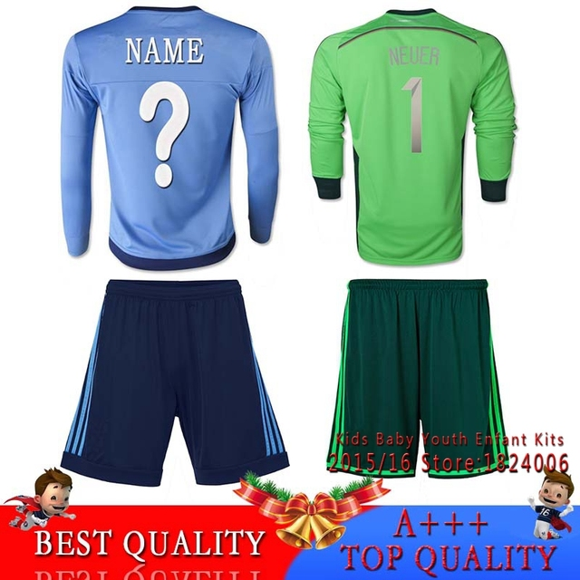 Top Quality Bundesliga 2017 Neuer Kids Kit Goalkeeper Soccer Jersey 2016 Baby Germany Maillot Foot