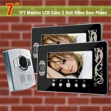 7″ LCD video door phone intercom system night vision Door Bell Camera Intercom Monitors 1 V 2 Monitor video doorbell