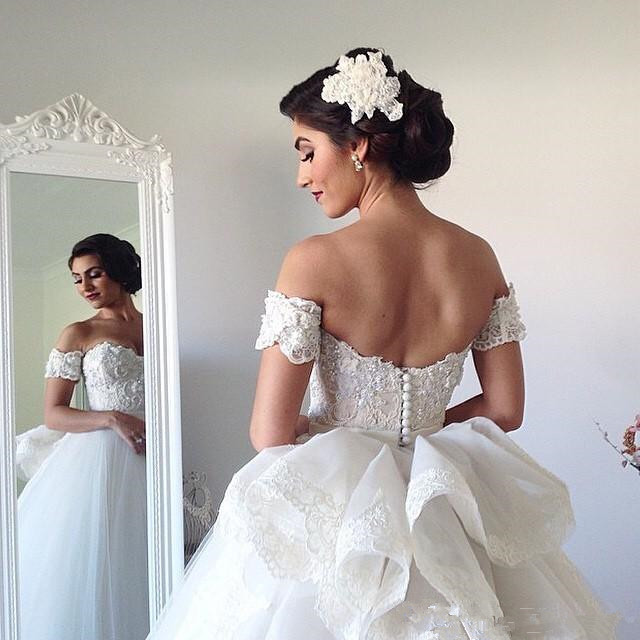Beautiful Ball Gown Wedding Dresses Sweetheart With Removable Cap Sleeve White Tulle Bridal Dress Spring Gowns Bow Back Vintage
