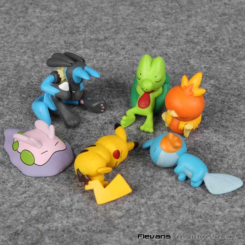 การ์ตูนการ์ตูนน่ารัก Sleeping Lucario Mudkip Torchic Dedenne Froakie Fennekin Chespin Mini PVC ตัวเลขของเล่น 3-5 ซม.