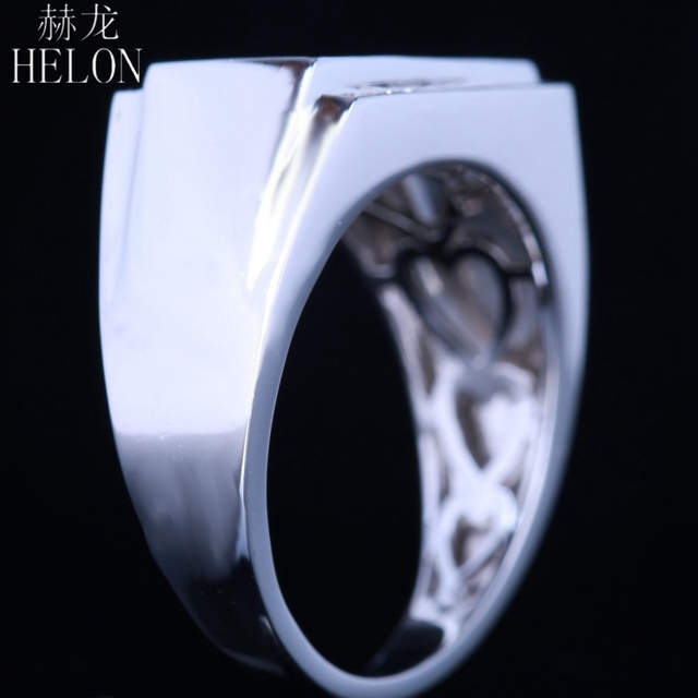 HELON New Finish Mens 0.5ct Natural Diamonds Ring Sterling silver 925 Engagement Wedding Fashion Band Pinky Ring Fine Jewelry