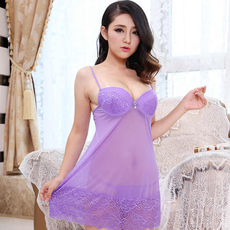c8326591bf9 ... Push Up Bra Mesh Nightgown Sleepshirt Sexy Lingerie Women Babydoll  Sleepwear Sleep Night Dress See Through ...