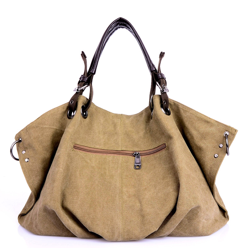 Image 3 - Women Canvas Messenger Bags Female Crossbody Bags Solid Shoulder Bag Fashion Casual Designer Female Handbag Large Capacity Tote-in Shoulder Bags from Luggage & Bags