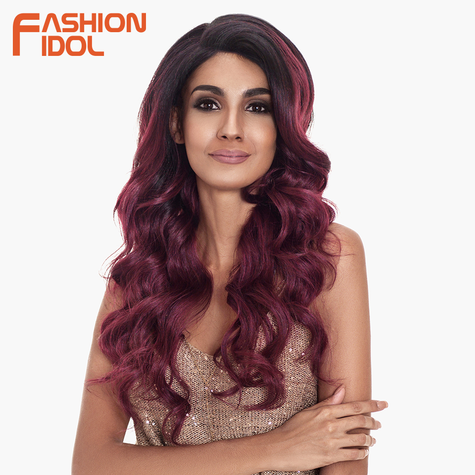 FASHION IDOL Deep Wave Wig Cosplay Synthetic Wigs For Black Women Ombre Brown Wine Red 24 inch 13x6 Lace Front Wig Free Shipping