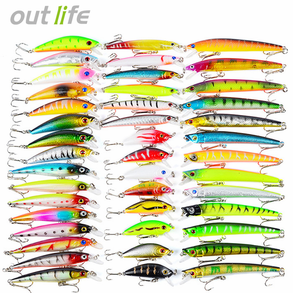 43pcs New Mixed 6/Set Minnow Fishing Lure Artificial Lifelike Carp Fishing Tackle Plastic Pesca. Artificial Baits Lures amlucas minnow fishing lure 110mm 9 5g crankbait wobblers artificial hard baits pesca carp fishing tackle peche we266