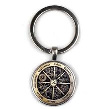 Fashion Retro 12 Constellation Wicca Pattern Key chain Crescent Pendant Keyring Charm Bag women Jewelry Men Gifts Party Souvenir