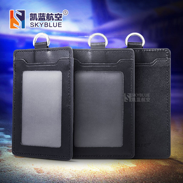 genuine leather case for id card single deck solid black holder for