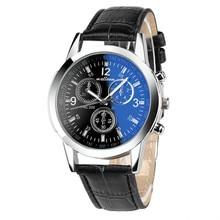 HOT!!! Luxury Fashion Faux Leather Mens Blue Ray Glass Quartz Analog Watches Wholesale Free Shipping