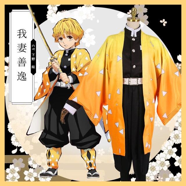 Anime Demon Slayer Agatsuma Zenitsu Cosplay Costumes  Kimetsu no Yaiba Men Kimono Halloween Costumes
