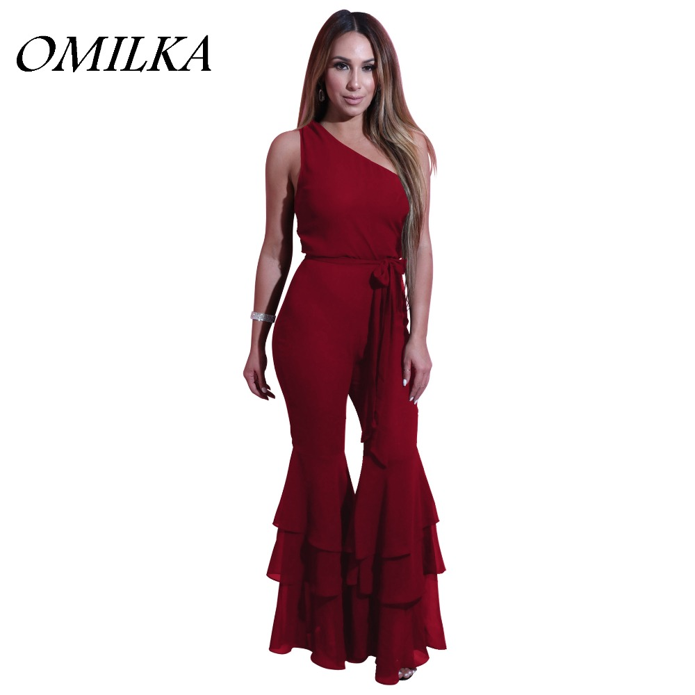 OMILKA 2017 Summer Women One Shoulder Big Flare Ruffle Bodycon Romper and Jumpsuit Sexy Black White Green Red Club Party Overall