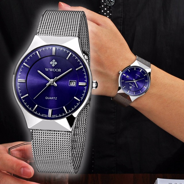 c8861517e64 Banda De Malha de Prata de Aço inoxidável relógio de quartzo moda masculina  relógio WWOOR relogio