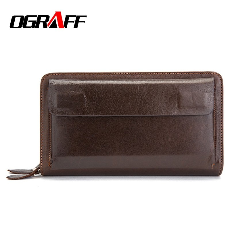OGRAFF Men Wallet men Genuine Leather Wallet Clutch Male Card Holder money Bag Handy Wallets Walet Coin purse organizer 2018 contact s genuine leather men wallet coin purse card holder zipper small clutch male bags travel walet money bag organizer purse