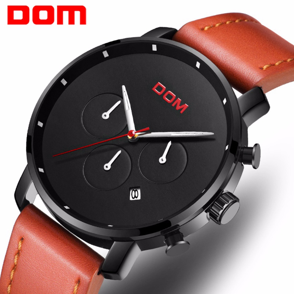 Watch Men New DOM Brand Luxury Male Auto Date Waterproof Sport Watch Men Leather Military Quartz male Wrist Watch M-1216