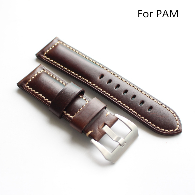 TJP 22MM 24MM 26MM High Quality Oil Red Brown Vintage Genuine leather Watchbands For PAM111 PAM/Panerai Watch Strap With Word new arrive top quality oil red brown 24mm italian vintage genuine leather watch band strap for panerai pam and big pilot watch