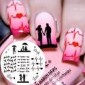 1 Pc NASCIDO BONITA BP71 Tema de Amor Casal Coração Nail Art Stamping Template Placa Imagem Do Selo Placa Imagem Pássaros Bonitos