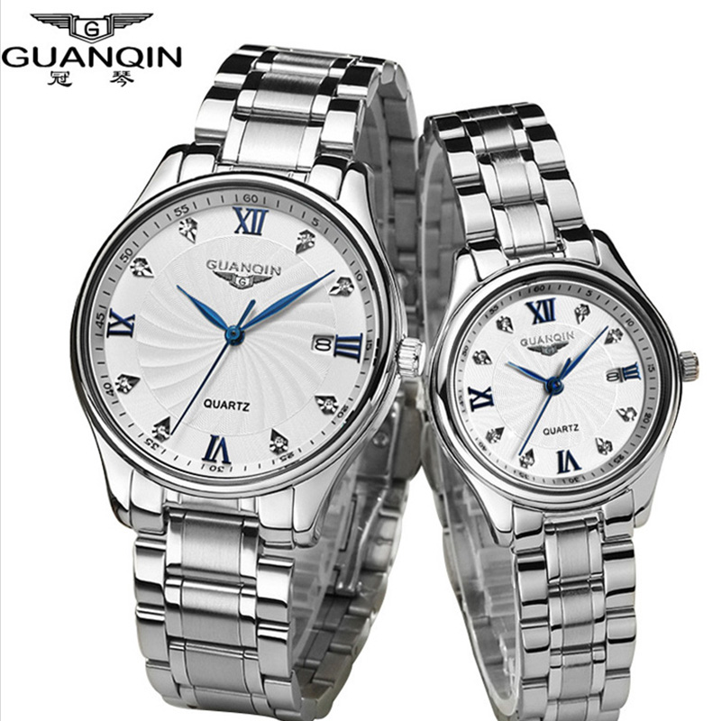 Top Luxury Brand GUANQIN Lovers Wristwatches Full Steel Waterproof Sapphire Luxury Watch Quartz Men Watch Women Watches One Pair halei lovers watches crystal inlaid full steel quartz watch women men simple casual wristwatches silver clock calendar relojes