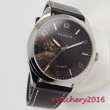Luxury 42MM PARNIS Automatic Self-Wind Mechanical 24 jewels Japanese Miyota NH38 watches Black dial Sapphire Crystal men's watch цена