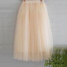 New Arrivals Tulle Skirts Womens 2017 Summer Fashion High Waist Long Skirt Elastic Waist Sun Fluffy Tutu Skirt Jupe Longue Femme