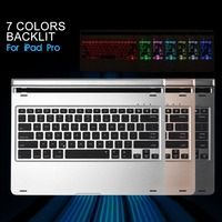 Russian Hebrew Spanish Aluminum Metal Wireless Bluetooth 7 Colors Backlit Keyboard Dock Case For Apple IPad