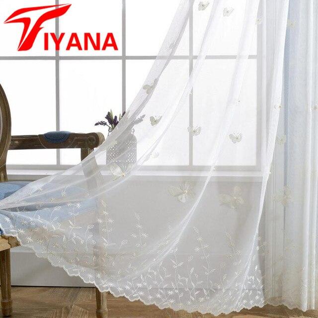 Blanc Papillon Tulle Rideau Avec Perle Conception Maille Tissu Sheer ...