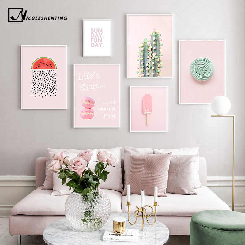 Pink Candy Macaron Lollipop Food Picture Fashion Nursery Poster Indie Pop Canvas Wall Art Print Painting Modern Room Decoration
