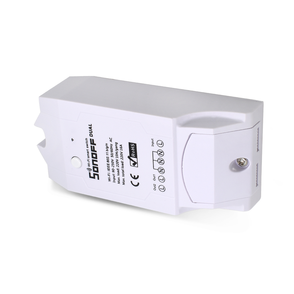 ITEAD SONOFF Dual 2CH 2 Gang Way 10A 220V 16A 3500W WiFi Wireless Smart Switch Light Remote Control DIY Timer Module Alexa Home