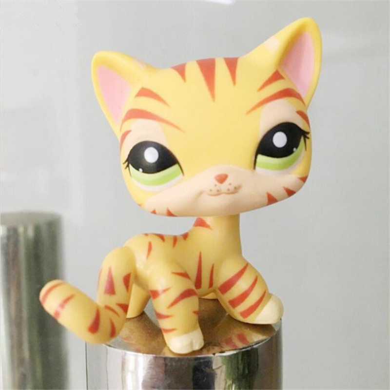lps Pet shop Orange & Yellow Striped Tiger Kitty lpsToys Child Loose Cute Figure cat free shipping